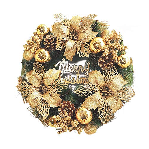- Warm Homes Holiday Gold Christmas Wreath with Merry Christmas Sign & Gold Ornaments Great for Front Door/Indoor/Outdoor Use
