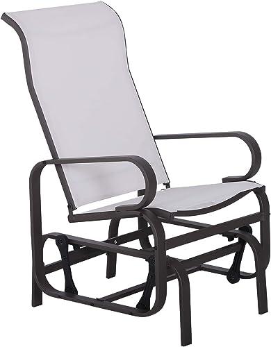 Goplus Folding Rocking Chair Recliner w Headrest Patio Pool Yard Outdoor Portable Zero Gravity Chair for Camping Fishing Beach Beige