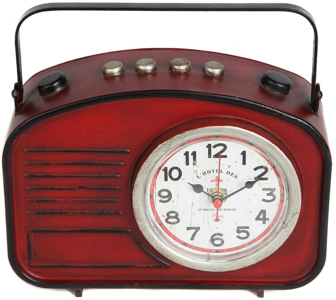 Lily s Home Vintage Inspired Radio Style Mantle Clock, Battery Powered with Quartz Movement, Fits with Antique D cor Theme