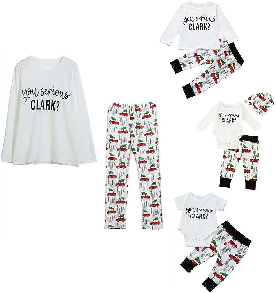 Kehen Family Matching Christmas Pajamas Sleepwear Letter Printed Long Sleeve Tops Xmas Tree and Car Pjs Pant Set