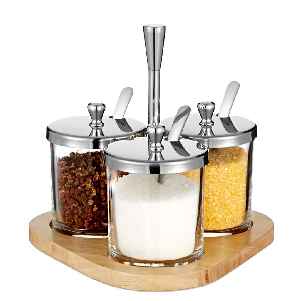 Goquik High Borosilicate Glass Seasoning Jar Set Kitchen Seasoning Jar 3 Piece Set Seasoning Box Visual Spice Box (Size : 3) by Goquik