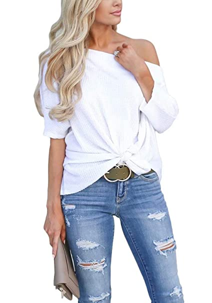 da829da23f19f LACOZY Women s Casual Waffle Knit Tunic Blouse Sexy Off The Shoulder Tops  Knot Batwing T Shirt White X-Large(16 18) at Amazon Women s Clothing store