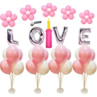 4 Sets of Clear Balloon Stand Kit with 7 Sticks 7 Cups and 1 Base Table Desktop Holder Balloon Decoration for Birthday…