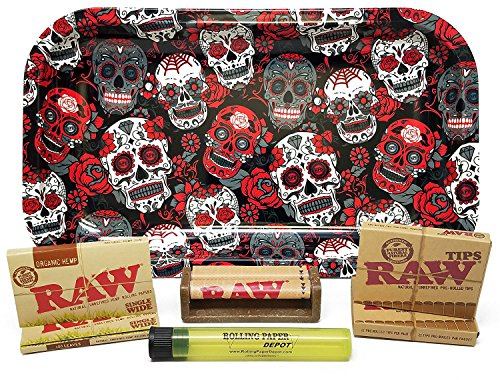 Bundle - 7 Items - Rolling Paper Depot Rolling Tray with RAW Single Wide Rolling Papers, Pre-Rolled Tips, 70mm Roller and Doobtube (Organic, Skulls) (Single Tip Tray)