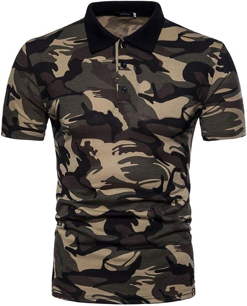 Camisa De Polo para Hombre Camuflaje Casual Militar Camisa con Slim Fit Estampado De Mangas Cortas Camisa De Manga Larga para Diario con Polo Blusa Básica (Color : Brown, Size : M):