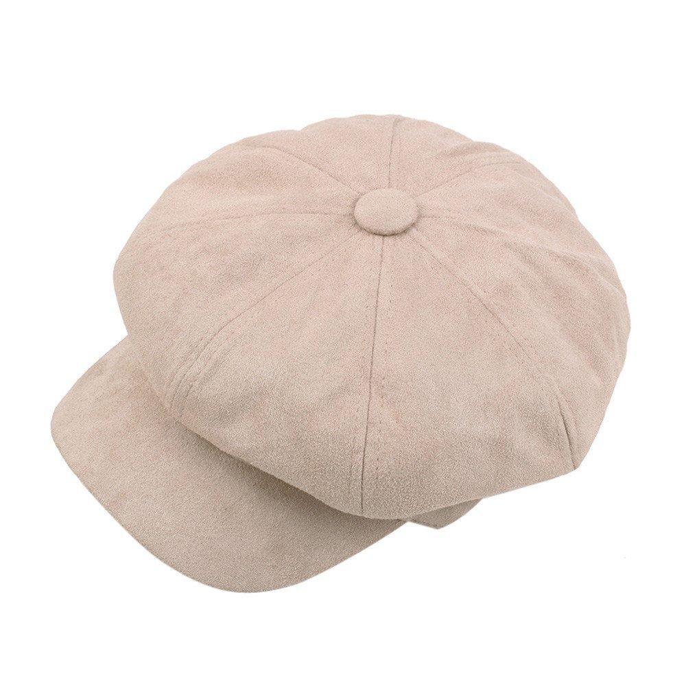 CSSD Women Casual Stylish Solid Color Vintage Octagonal Hat Winter Warmer Berets Hats (Beige)
