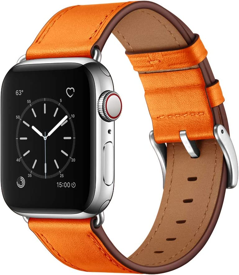 OUHENG Compatible with Apple Watch Band 44mm 42mm, Genuine Leather Band Replacement Strap Compatible with Apple Watch Series 6/5/4/3/2/1/SE, Orange Band with Silver Adapter