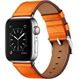 OUHENG Compatible with Apple Watch Band 38mm 42mm 40mm 44mm, Genuine Leather Band Replacement Strap Compatible with…