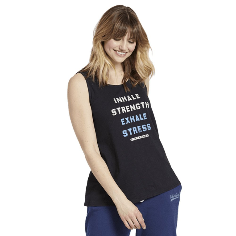 Life is Good Women's Breezy Tank Inhale Strength, Night Black, Large