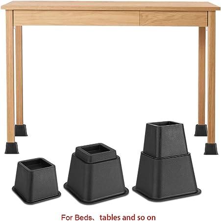 8Pcs Rehausseurs Elevateurs de Lit Table Meuble Bloc Pied 3 Tailles