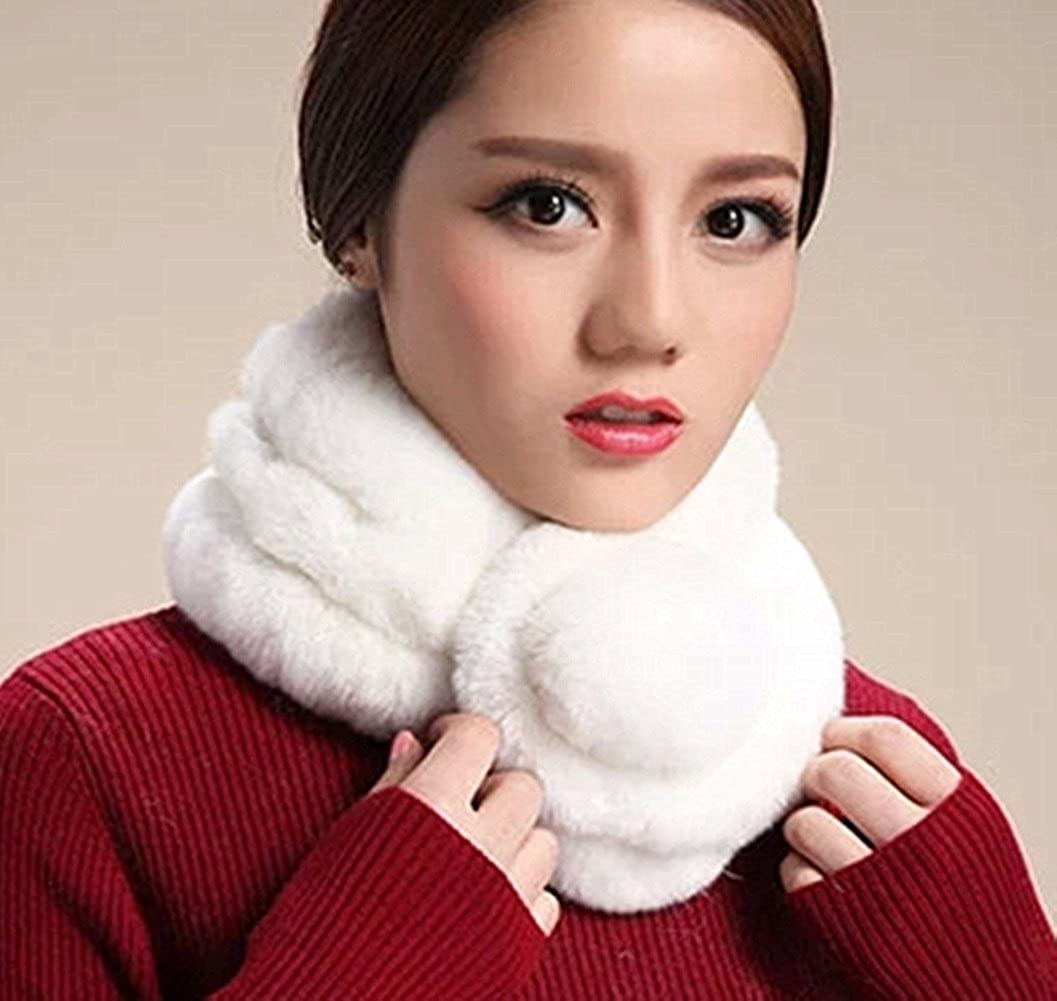 Super Soft Real Rex Rabbit Fur Scarves Womens Scarf Neck Warmer Wrap By Deetto