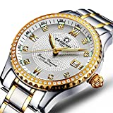 Mens-25-Jewels-Automatic-Movement-Mineral-Mirror-Green-Tritium-Transparent-Cover-Silver-Gold-Watches