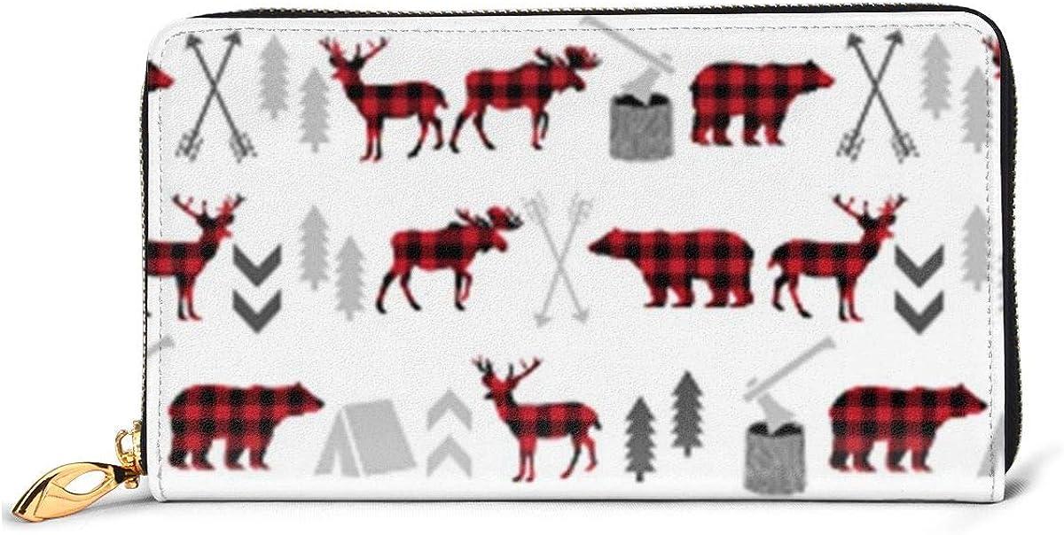 Buffalo Plaid Moose Womens RFID Blocking Zip Around Wallet Genuine Leather Clutch Long Card Holder Organizer Wallets Large Travel Purse