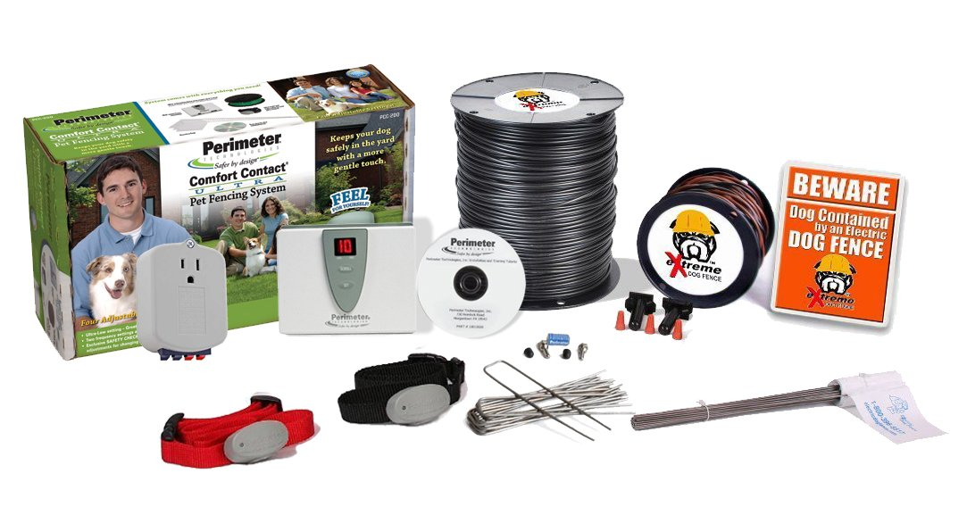 Perimeter Technologies Ultimate Electric Dog Fence Pro-Grade DIY Kit (1 to 2 Acres Coverage Area) (2 Dog Kit) by Extreme Dog Fence