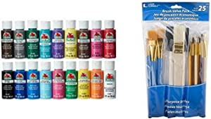 Apple Barrel Acrylic Paint Set, 18 Piece (2-Ounce), PROMOABI Best Selling Colors I & Loew-Cornell 245B Brush Set, Pack of 25, Multi Color