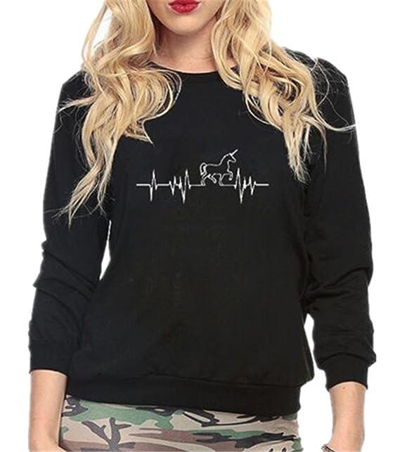 Haililais Mujeres Joven Letras Impresas Camiseta con Manga Larga Guays Pullover Suelto Blusa De Impresion Unicornio Universidad Cuello Redondo Sudaderas: ...