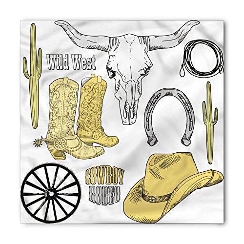 Lunarable Western Bandana, Skull Lasso Hat Horseshoe, Unisex Head and Neck Tie from Lunarable