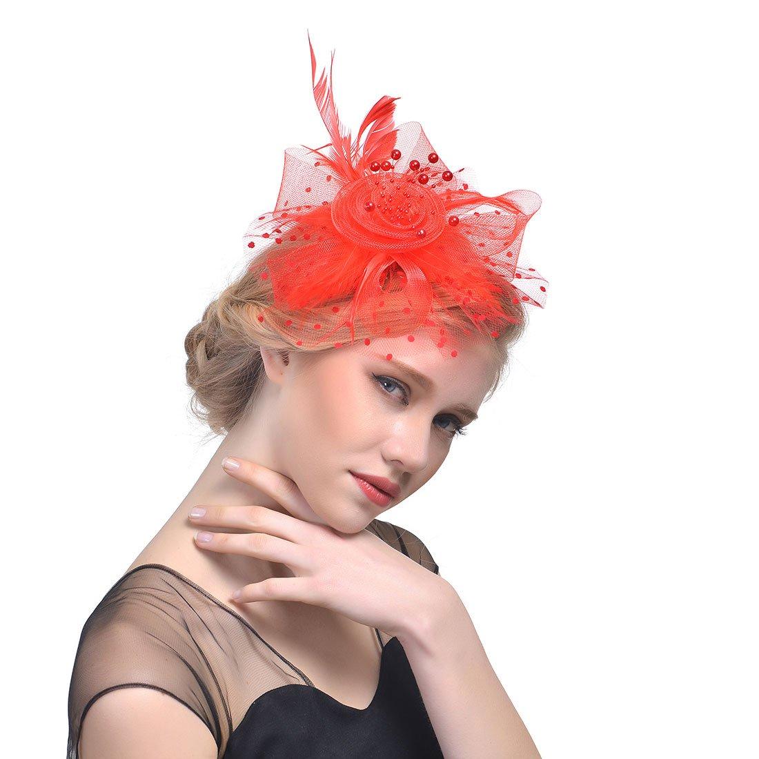dressfan Vintage Feather Fascinator Polka Dot Maille Fleur avec de Petites Perles Clip de Cheveux Bandeau