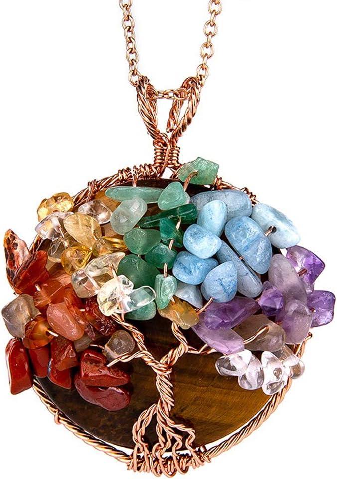 NICEWL Collar de Árbol de La Vida de Chakra de Amatistas,Envoltura de Alambre de Piedras Preciosas Naturales,Gargantilla con Colgante Redondo de Cristal Curativo para Mujer,C