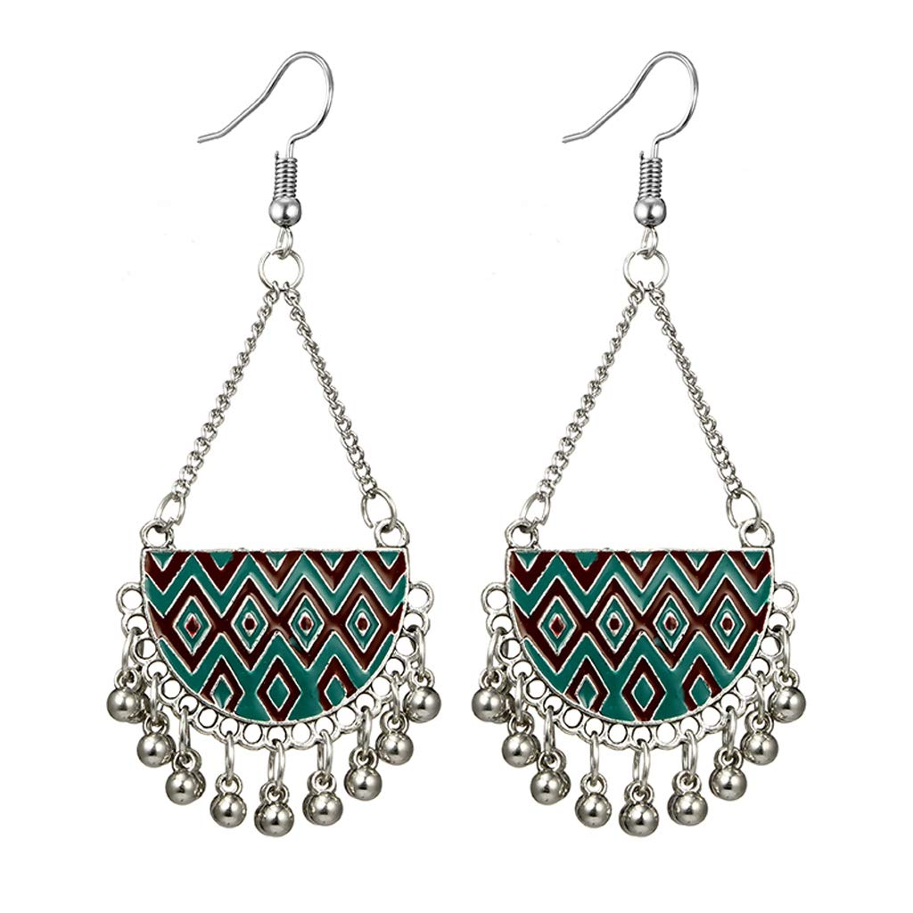 flently Fashion Bohemia Retro Sector Earrings with Bell and Tassel Creative Jewelry Dangling for Girl Women