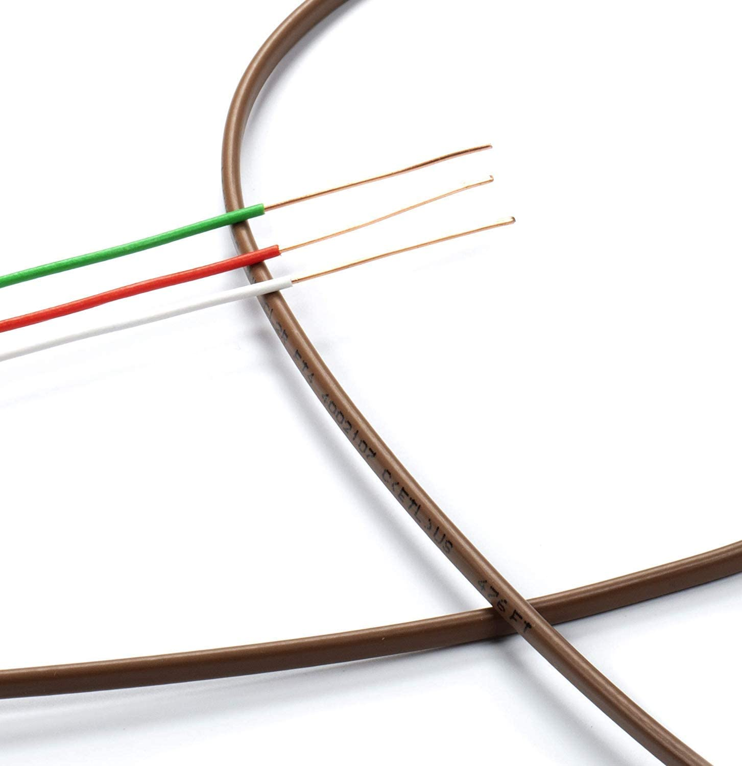 Thermostat Wire 18//8 Commercial and Industrial Rated 100 Feet CL2 Brown 18-8 CL3 CMR Riser Rated Solid Copper 18 Gauge 2 Conductor - Residential THE CIMPLE CO UL Listed