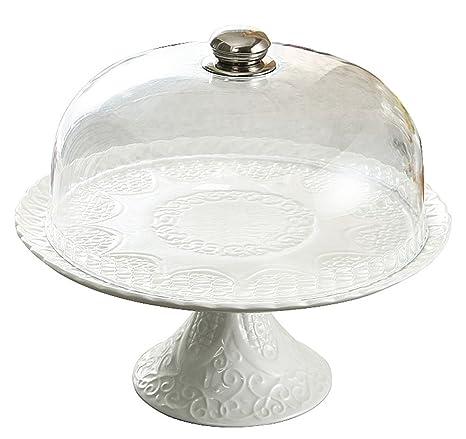Jusalpha White Porcelain Decorative Cake Stand-Cupcake Stand (Plastic dome)  sc 1 st  Amazon.com & Amazon.com | Jusalpha White Porcelain Decorative Cake Stand-Cupcake ...