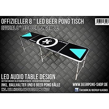 LED Beer Pong Tisch   Audio Table   Inkl. Ballhalter (+6 Bälle)
