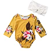 Emmababy Newborn Baby Girls Big Flowers Print Romper with Headband Long Sleeve Summer Jumpsuit Bodysuit (Yellow, 0-6M)