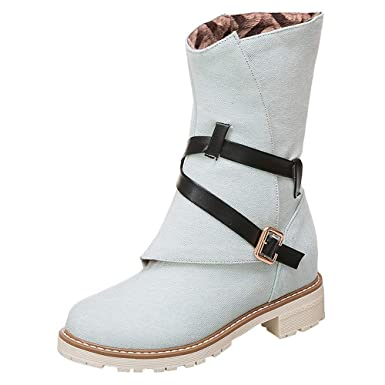 1c607144b6bb0 DENER❤ Women Ladies Winter Boots with Fur, Canvas Buckle Straps ...
