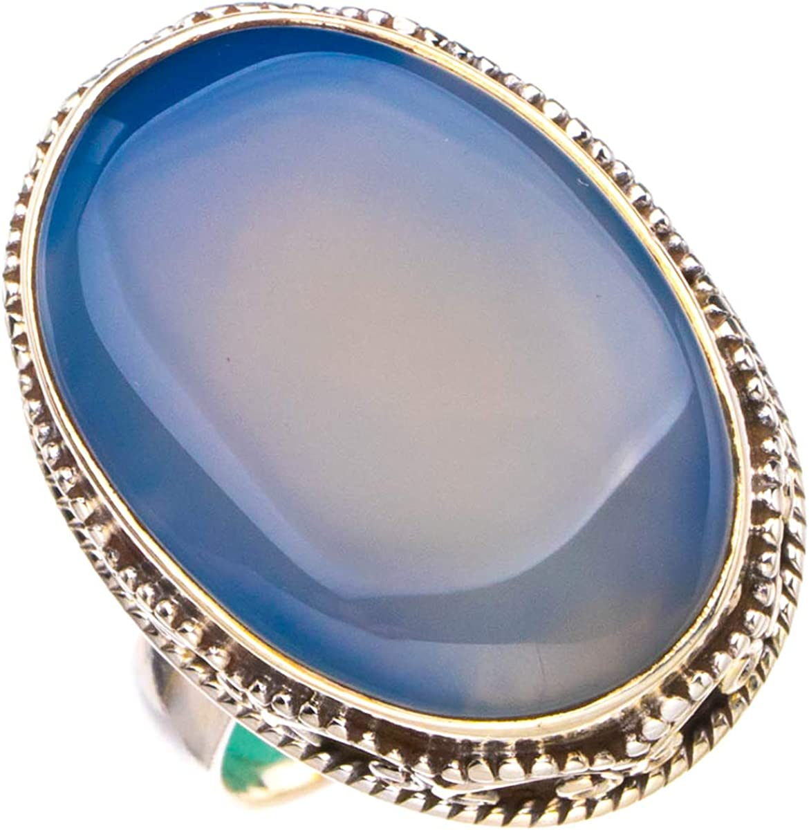 StarGems Anillo de calcedonia natural hecho a mano de plata de ley 925 P 1/2 D4203