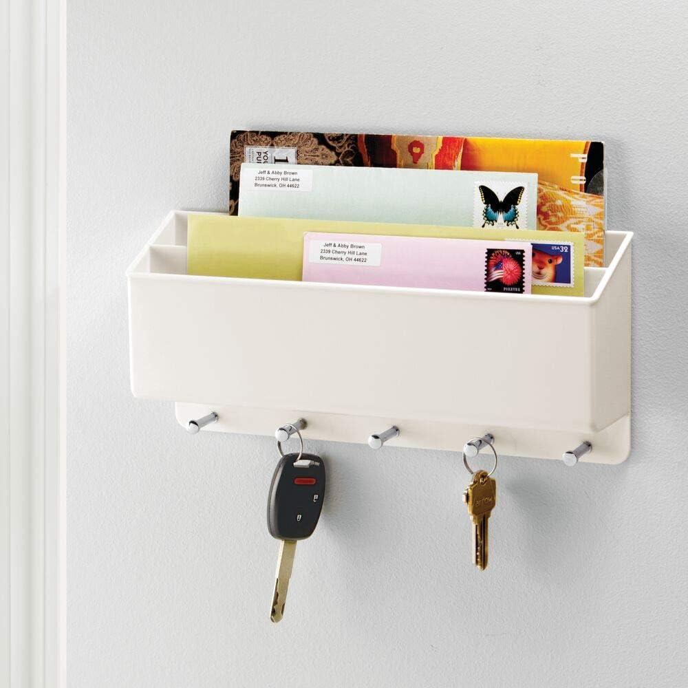 Moderno cuelga llaves con repisa dividida en dos Estante de pared para ordenar llaves con 5 ganchos mDesign Organizador de cartas con colgador de llaves transparente