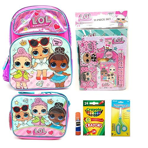 "Price comparison product image L.O.L. Surprise 16"" Backpack And Lunch Bag Set With Essential School Supplies"