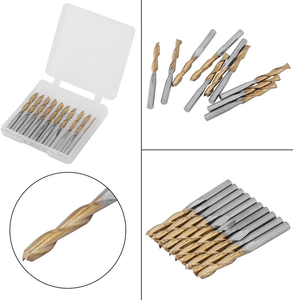 piezas de hardware pl/ásticos Fresa de fresado de fresa de 2 flautas 3.175 mm V/ástago 3.175 mm Di/ámetro del filo Acero de carburo de tungsteno recubierto de titanio para placas de circuito