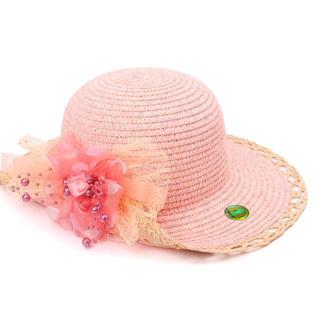 Locomo Age 3-5 Girl Cute Colorful Floral Flower Sun Floppy Straw Hat FBH034GRN