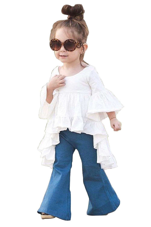 e6a23c5e20b9 Amazon.com  Toddler Kids Girls White Dress Blue Flared Pants Cotton Clothes  Outfits   Sets  Clothing