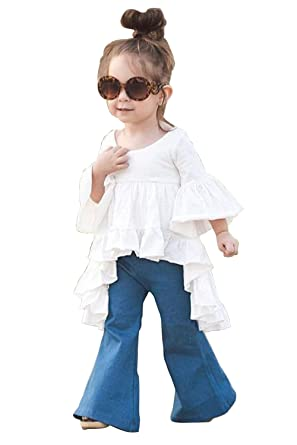 94e8263b741f Toddler Kids Girls White Dress Blue Flared Pants Cotton Clothes Outfits    Sets 6-12Months