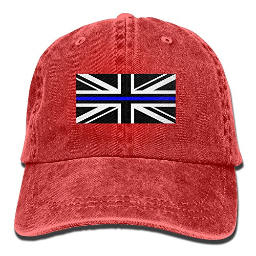 Kids Union Officer Hat (Men Women Union Jack Flag Of Thin Blue Line Adjustable Jeans Baseball Cap Outdoor Sports Hat)