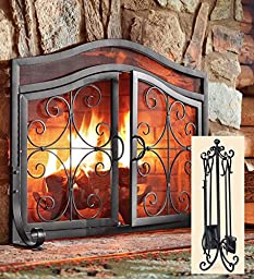 Small Crest Fireplace Screen With Doors And Tool Set, in Black