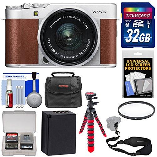 (Fujifilm X-A5 Wi-Fi Digital Camera & 15-45mm XC Lens (Brown) with 32GB Card + Battery + Case + Flex Tripod + Strap + Filter +)