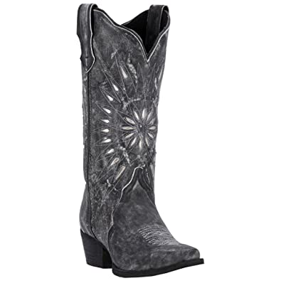 6880fb6dcb7 Laredo Womens Black Starburst Leather Cowboy Boots 12in Cutout 9 M ...