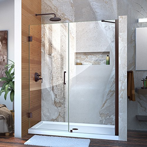 DreamLine Unidoor 59-60 in. W x 72 in. H Frameless Hinged Shower Door with Support Arm in Oil Rubbed Bronze, SHDR-20597210-06