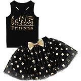 iiniim Newborn Baby Infant Toddler Girls It's My 1st/First Birthday Cake Smash Dress Tutu Princess Outfit Tops with Polka Dots Skirt Set