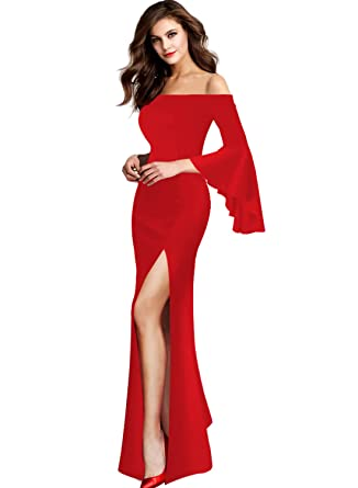 4ae7009930c Image Unavailable. Image not available for. Color  VfEmage Womens Sexy Off  Shoulder Bell Sleeve Formal Evening Party Maxi Dress 9262 RED 16