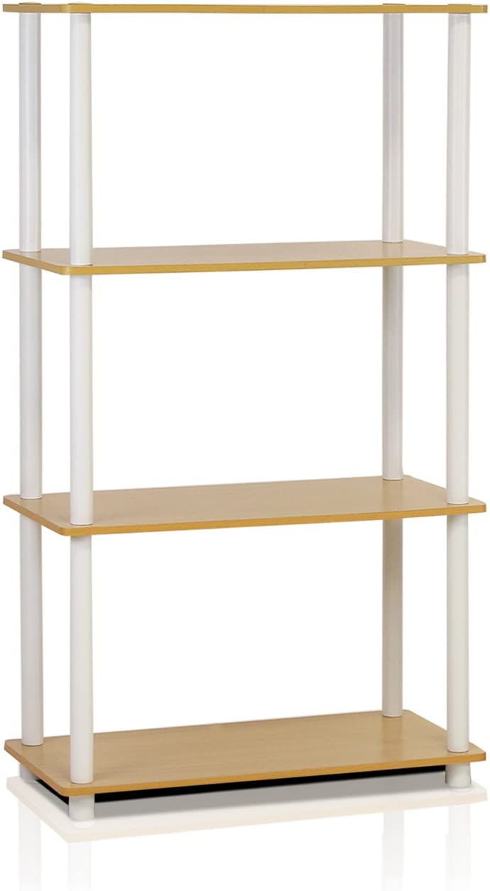 Furinno (99557BE/WH) Turn-N-Tube 4-Tier Multipurpose Shelf Display Rack - Beech/White: Kitchen & Dining