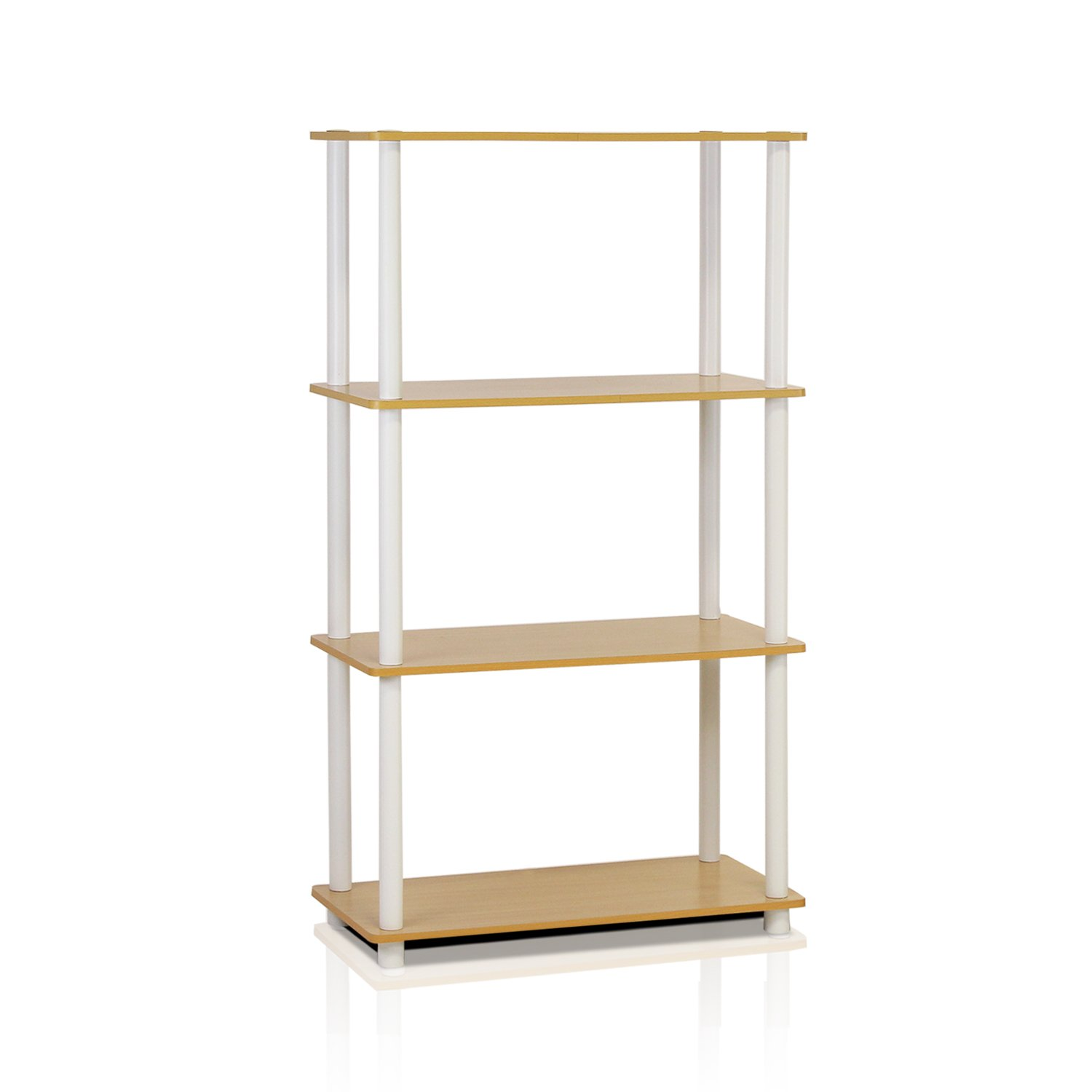Furinno (99557BE/WH) Turn-N-Tube 4-Tier Multipurpose Shelf Display Rack - Beech/White by Furinno (Image #1)
