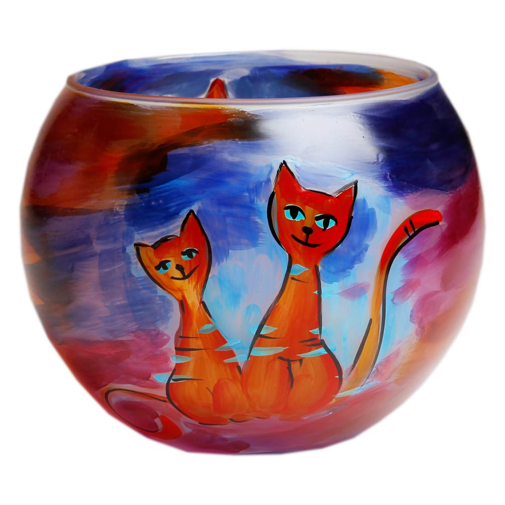 Celebration Vase Kugelvase Windlichthalter Glaskugel Leuchtkugel 15 cm Handbemalt Motiv Katzen bunt inkl. Geschenkbox