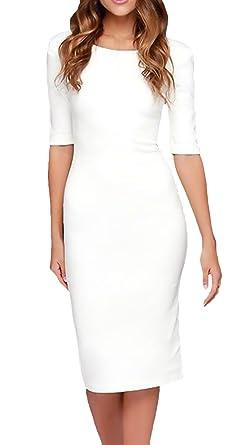 0e8e8ebe3b Vestido Mujer Elegante Mangas 3 4 Cuello Redondo Espalda Retro Abierta  Negocios Vestidos Ajustados Fashionista Fiesta Coctel Medium Largos Dress  Blanco  ...