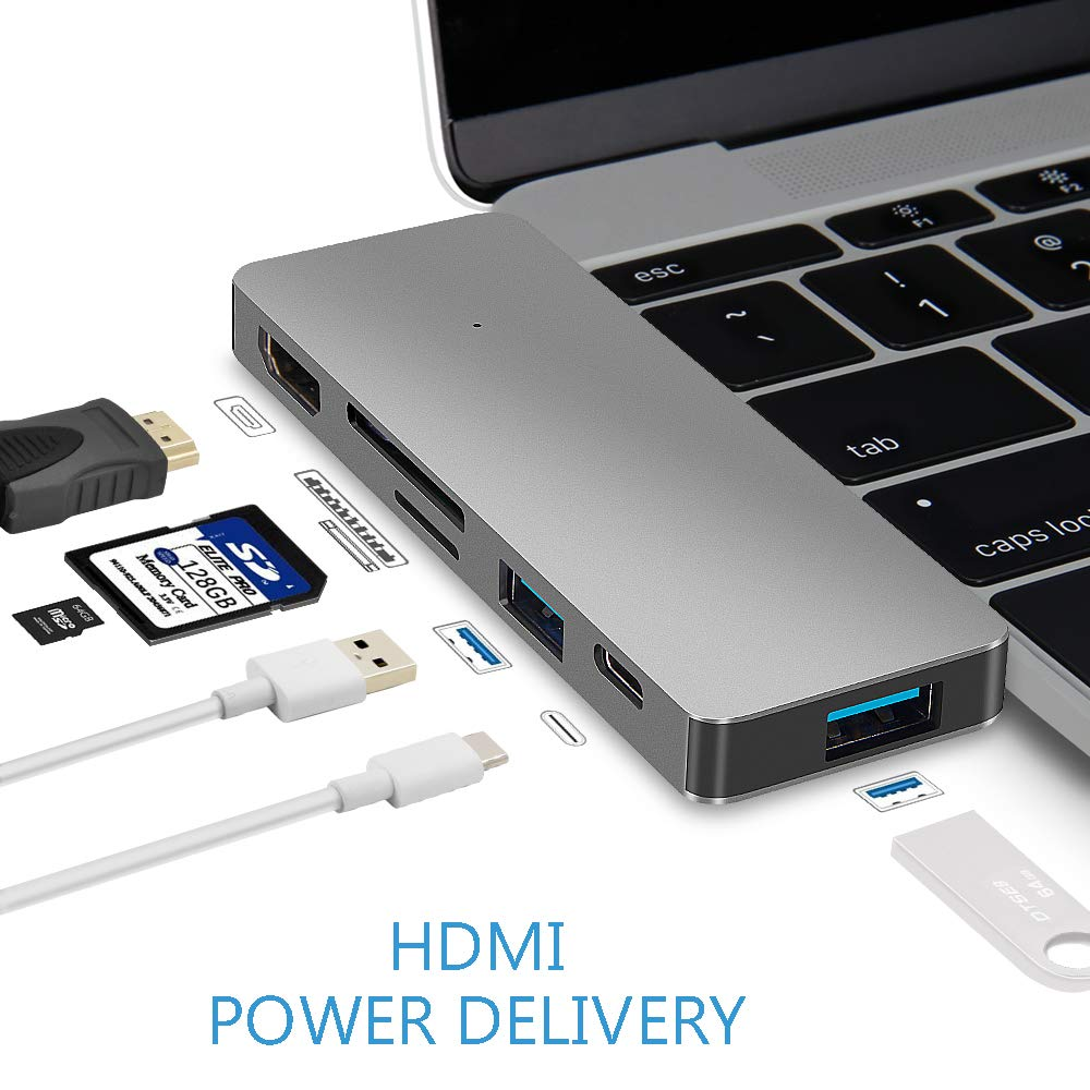 USB Type C Hub Power Delivery, Multi-Port Dongle, USBC Adapter Combo 6-in-1: 4K HDMI Output+USB-C Port +2 USB 3.0 Ports+SD&Micro SD/TF Card Reader for MacBook Pro 2016, All ULTRABOOK with Type-C Port