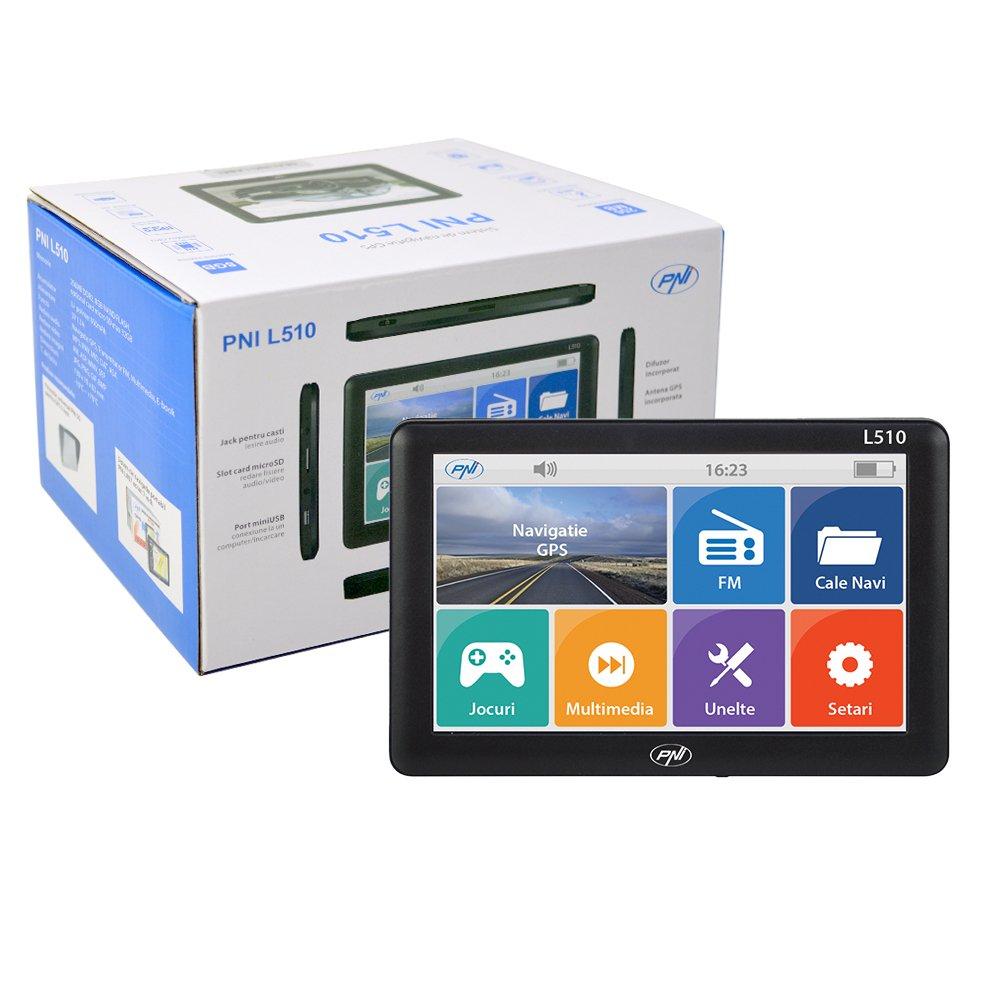 5 Inch Sistema de navegació n GPS PNI L510, 800 MHz, 256 M DDR, 8 GB, Compatible con Cualquier Tarjetas.No preinstalado Tarjeta 800MHz 256M DDR 8GB ONLINESHOP SRL PNI-L510