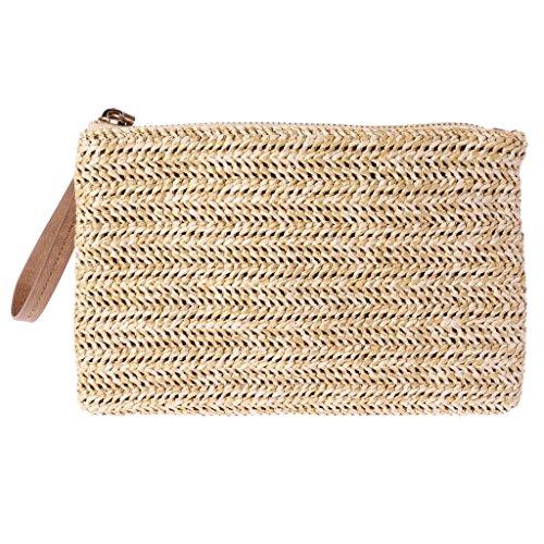 Chuhe Women Wallet Straw Coin PurseCasual Zipper Wallet Phone Key Tote Envelope Bag Wrist Mobile envelope bag clutch Simple 04#
